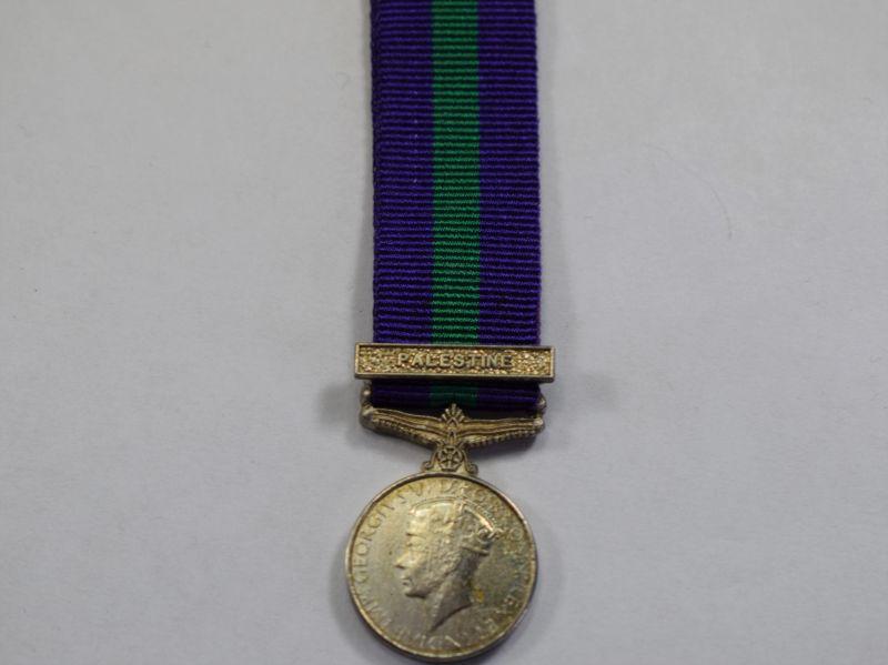 72) Original GRVI General Service Miniature Medal & Palestine Bar