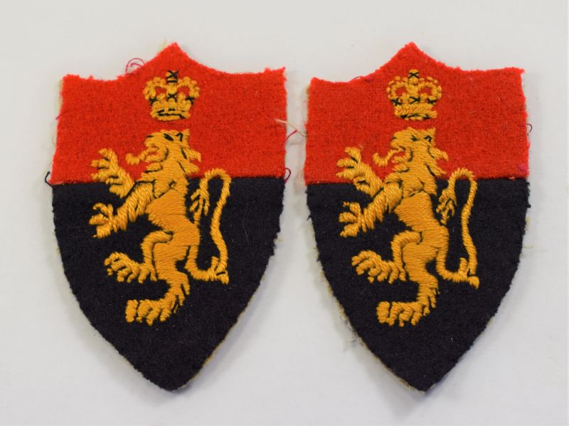 93) Original Pair Post WW2 HQ Middle East Land Forces Cloth Insignia