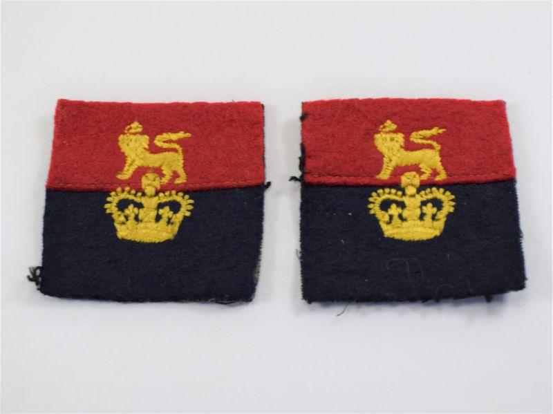 94) Original Pair Post WW2 War Officer Controlled Units Cloth Insignia