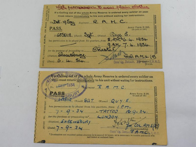 100) A Pair of British Army Passes to 6538112 Sgt E.Quy RAMC 1934.