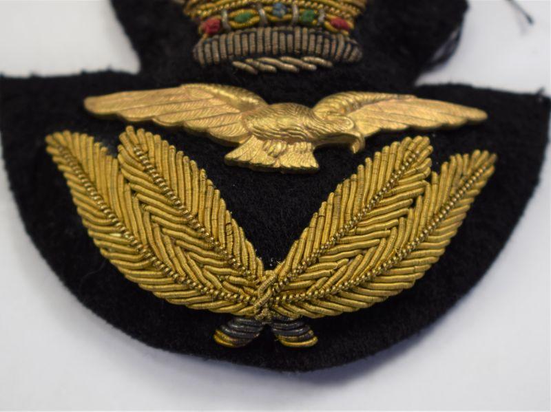F) Original Post WW2 RAF Officers Bullion Wire Cap Badge