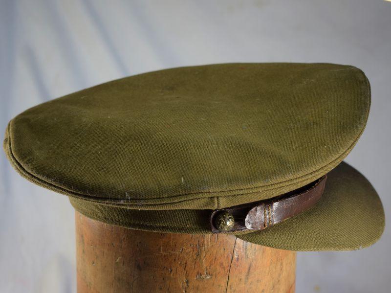 2) Well Used WW1 WW2 Era British Army Officers Khaki Peaked cap