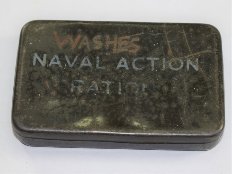 19) Small WW2 Royal Navy Issue Naval Action Ration Tin