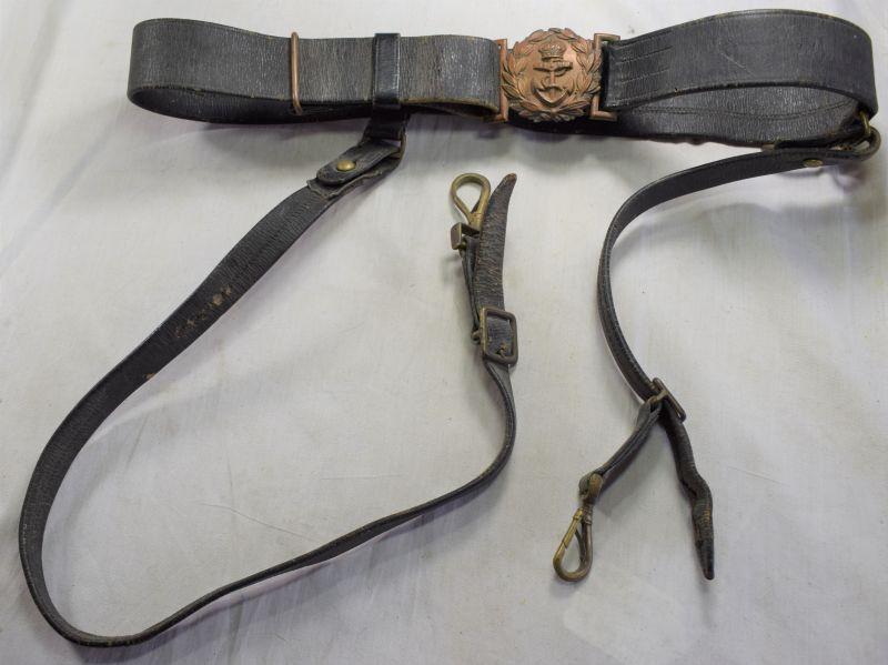 37) WW1 WW2 Royal Navy Officers Leather Sword Belt & Hangers.
