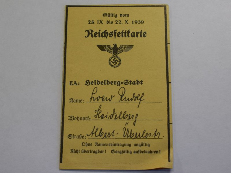 50) WW2 German Reichsfettcarte Fat Ration Book for Heidelberg