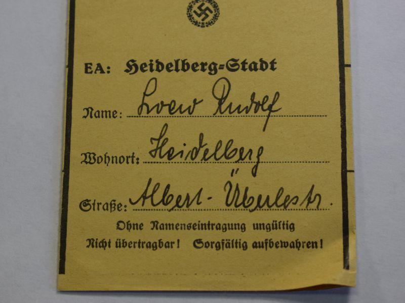 50) WW2 German Reichsfettcarte Fat Ration Book for Heidelberg