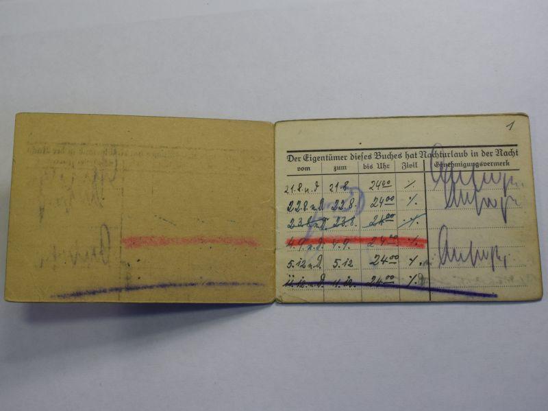 51) Original WW2 German Night Leave Book Nachturlaubsbuch 1940
