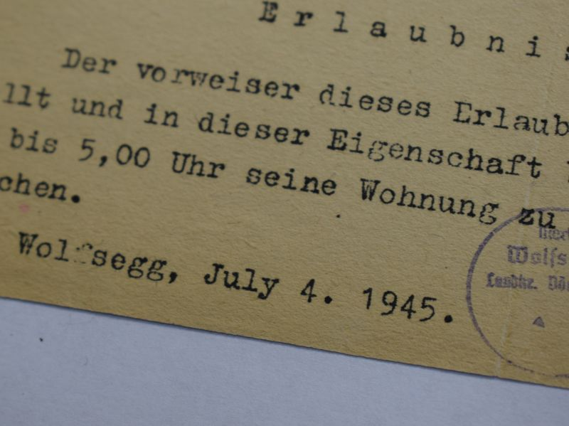 53) Town of Wolfsegg July 1945 Pass For Movement During Curfew,