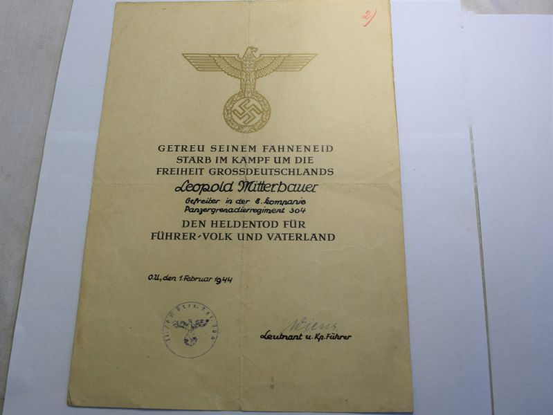 54) Original WW2 German Soldiers Death Certificate 8th Kompanie Panzer Grenadier Regiment 304