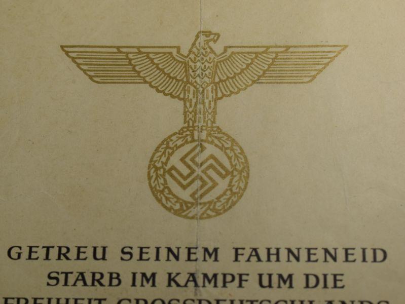 54) Original WW2 German Soldiers Death Certificate 8th Kompanie Panzer Grenadier Regiment 304