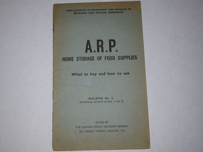 60) Original WW2 Booklet ARP Home Storage of Food Supplies