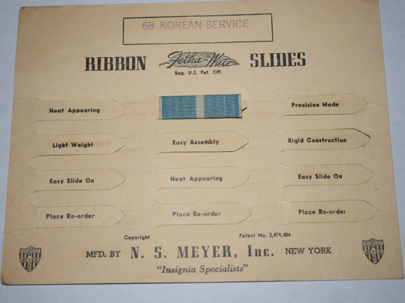 67) Original US Military Korean Service Ribbon Slide Bar on Factory Card Display