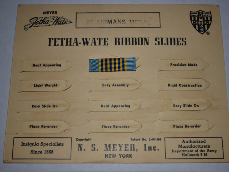 69) Original US Military Airmans Medal Ribbon Slide Bar on Factory Card Display