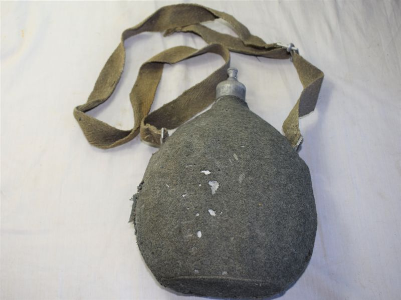 17) Large WW2 Italian Army Issue Water Bottle and Carry Strap