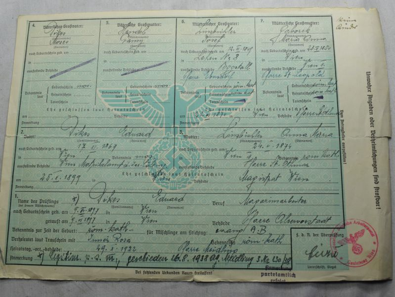 117) Original WW2 German NSDAP Proof of Ancestry Certificate 1942