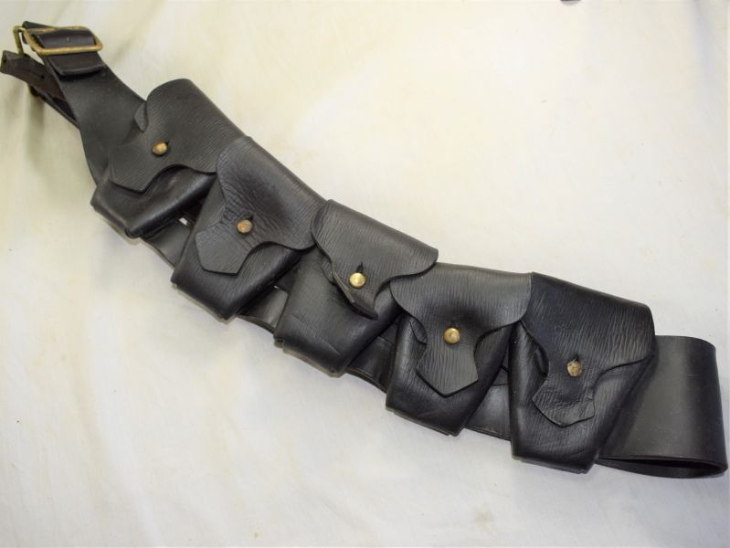 WW1 Dated British Army 03 Pattern 5 Pocket Ammo Bandolier in Leather