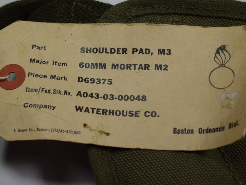 121) Mint Unissued WW2 US Army Mortar Carrying Shoulder Pads & Label