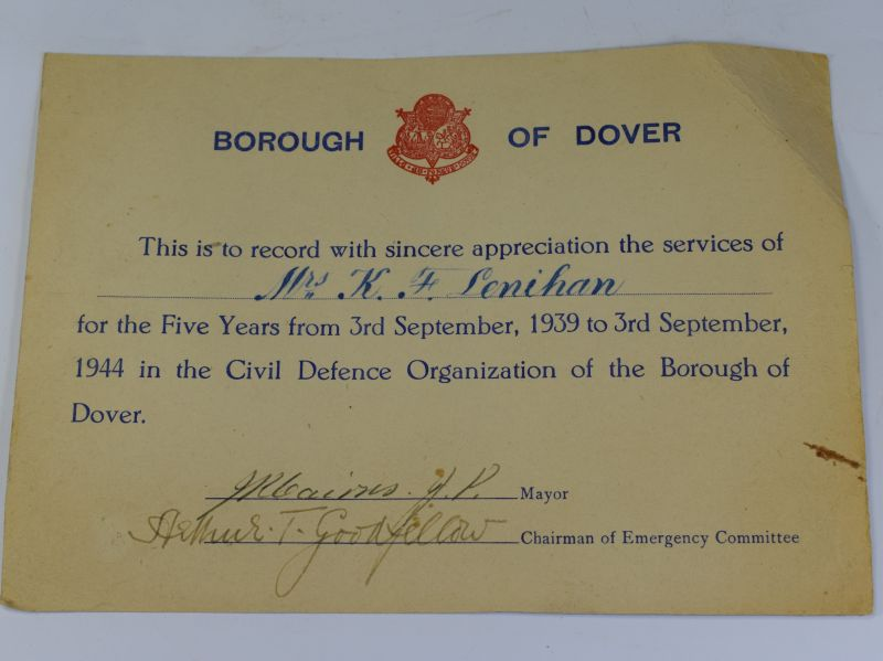 19) WW2 Borough of Dover Civil Defence Service Appreciation Certificate