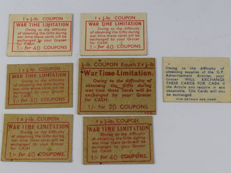 20) WW2 Coupons Cut From Tea Boxes, marked Wartime Limitations
