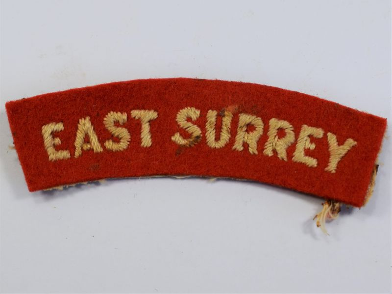 24) Original WW2 East Surrey Cloth Shoulder Title