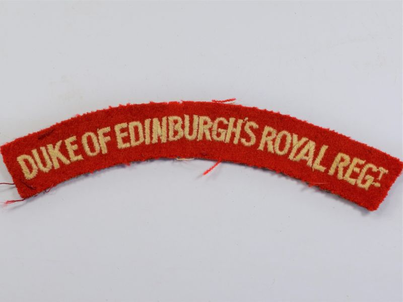 27) Original WW2 Duke of Edinburgh's Royal Regt Cloth Shoulder Title