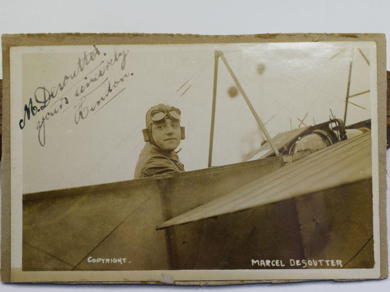 40) Original Pre WW1 Aviator Autographed Photograph Marcel Desoutter