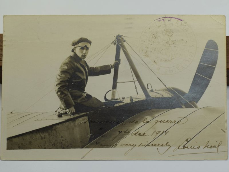 43) Original Pre WW1 Aviator Autographed Photograph Louis Noel