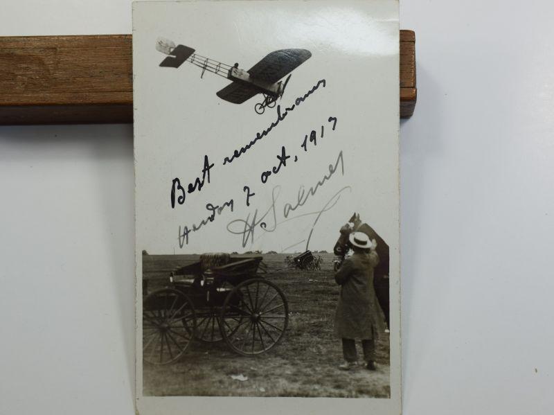 45) Original Pre WW1 Aviator Autographed Photograph Henri Salmet