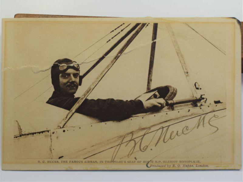 46) Original Pre WW1 Aviator Autographed Photograph Bentfield C Hucks