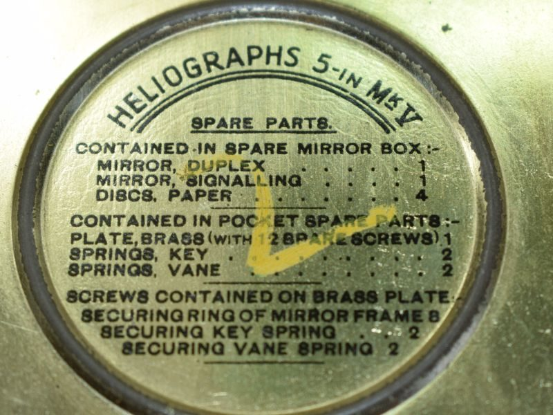 66) Excellent Complete WW2 Heliograph 5-In MkV T.P. Mirrors & Storage Container