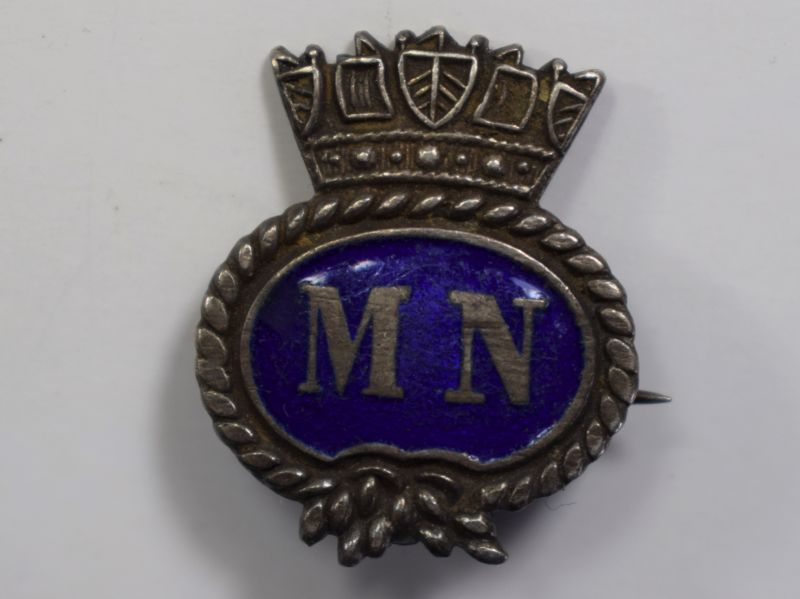 80) Original WW1 WW2 Merchant Navy Pin Badge.