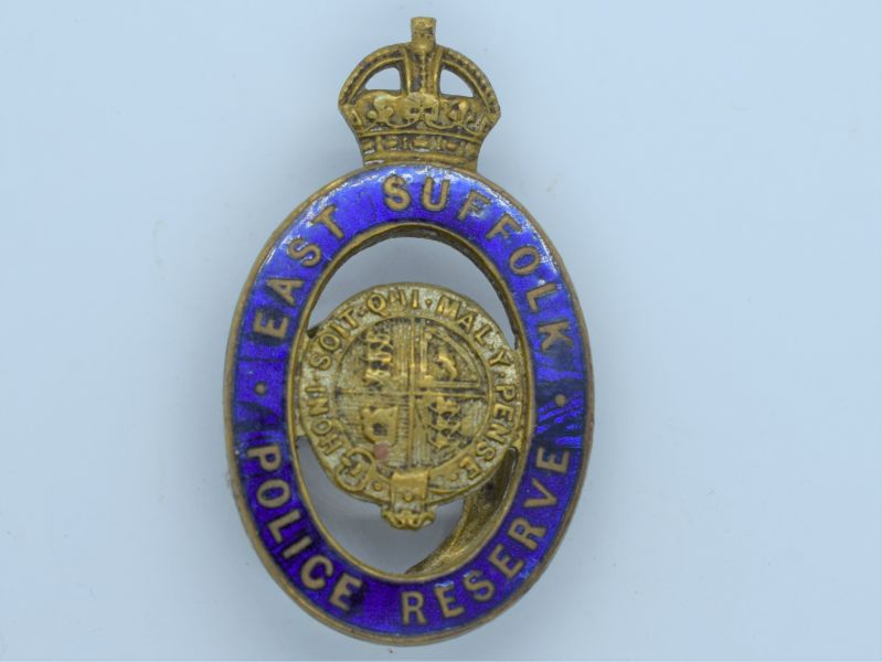 96) Original WW1 WW2 East Sussex Police Reserve Enamelled Lapel Badge