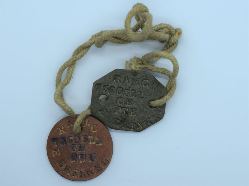 101) Original WW1 WW2 Dog Tag Pair 7380511 Pte E.Drinkel RAMC.