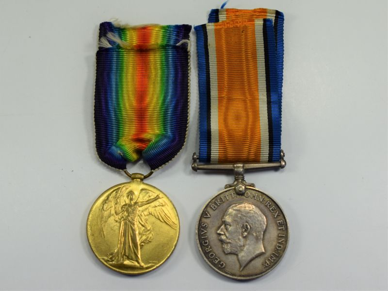 112) Original Full Size WW1 British Medal Pair 133257 2.A.M. L.Wheeler RAF