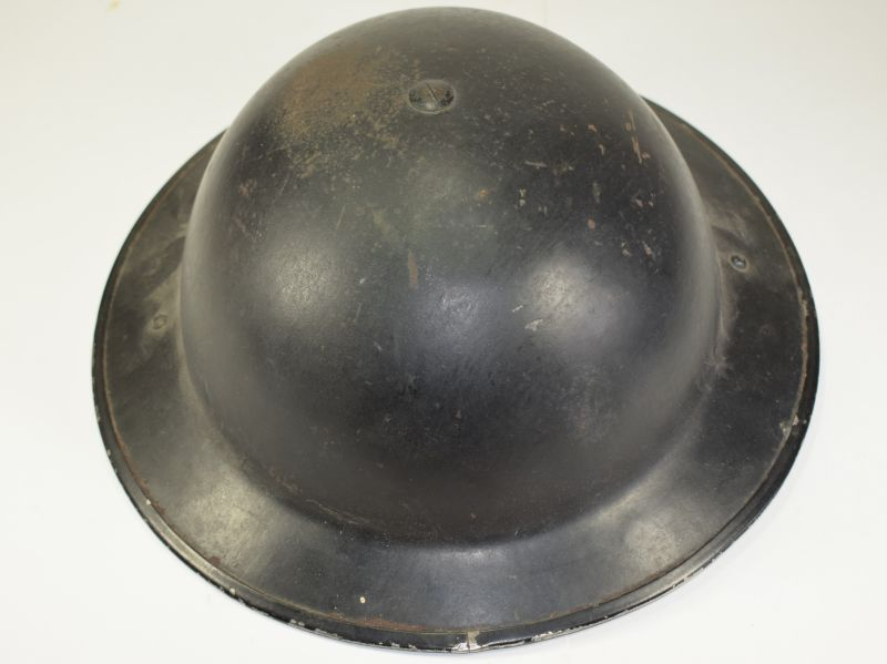 65) Excellent Original WW2 British Home Front Helmet in Black & Liner 1938