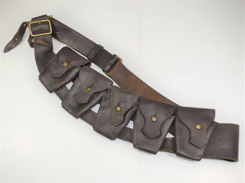 66) WW2 South African or Indian? Made 5 Pocket Leather Bandolier DLW 1942