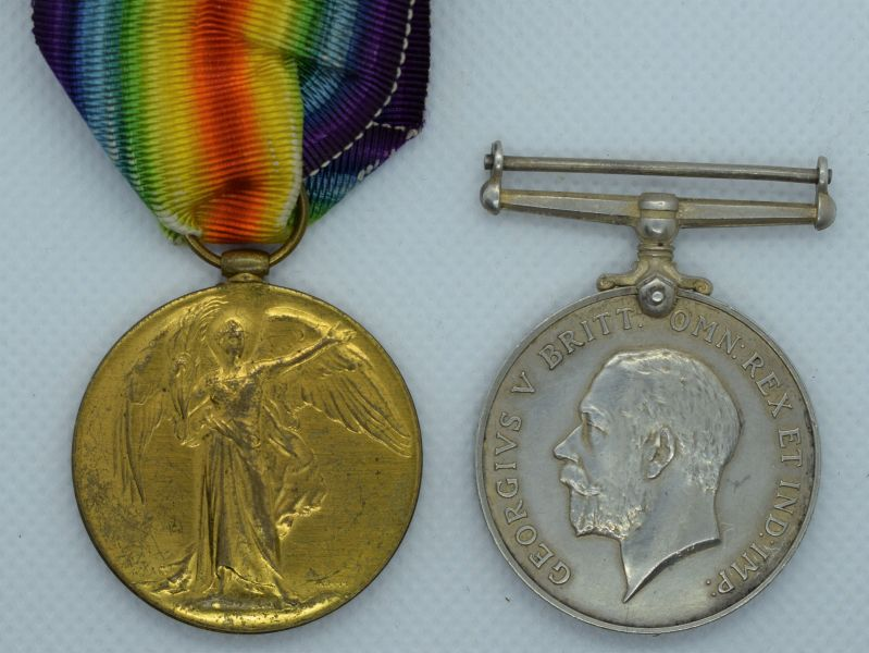 75) WW1 British Full Size Medal Pair 515566 Pte J.A.Masson 14th London Regt