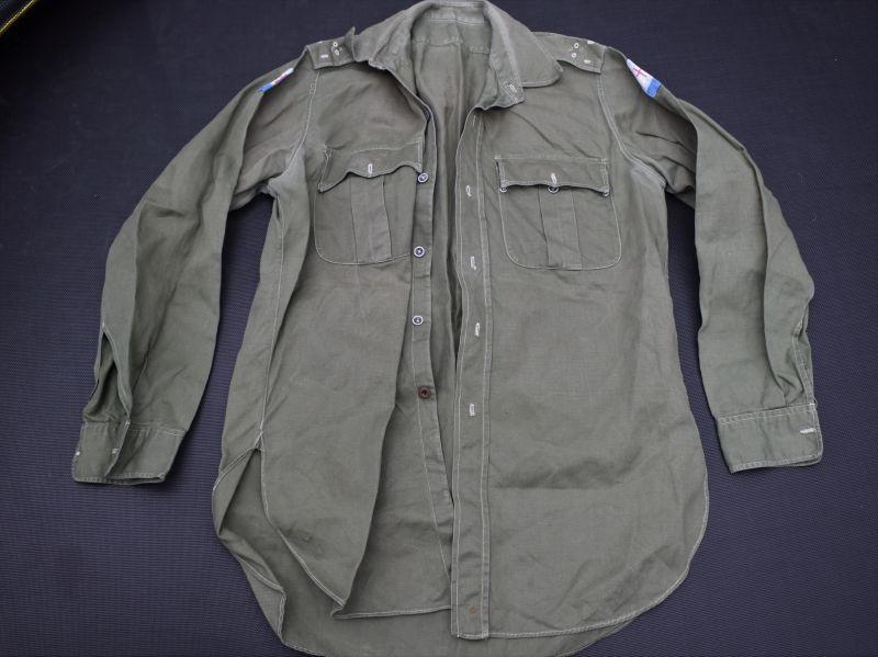 7) Original Early Post War JG Cotton Shirt with SEALF, GHQ FARELF Insignia