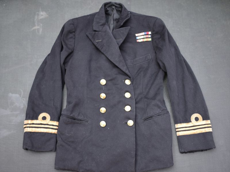28) 1945 Dated Royal Navy Officers Double Breasted Jacket to Lt Commander P.W.Barnett