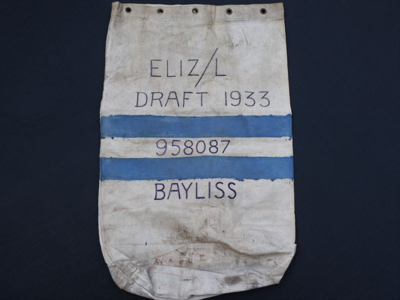 36) WW2 British Army Issue Kit Bag To 958087 Bayliss 1944