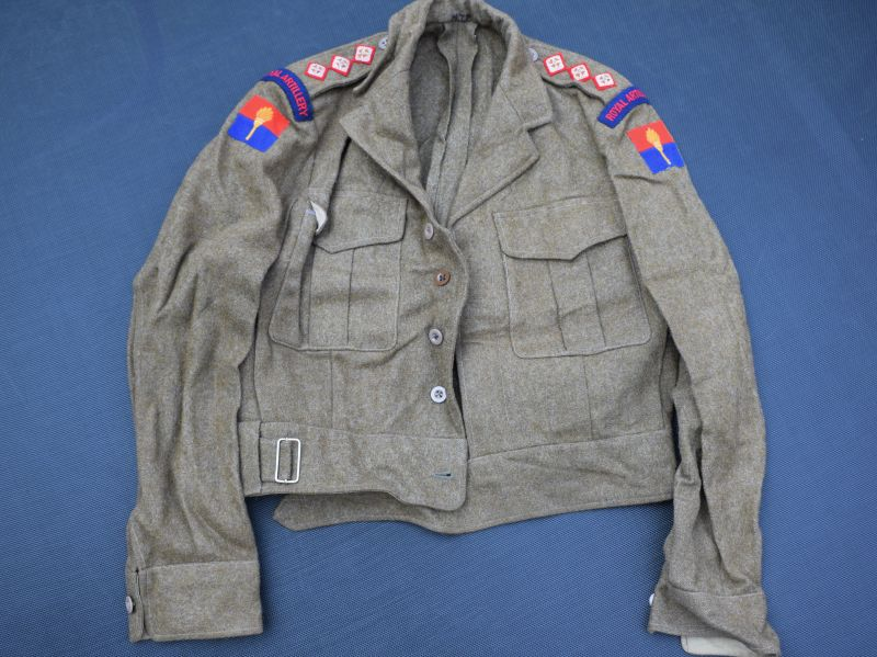 45) Excellent British Officers Privately Tailored 49 Pat BD Blouse & RA Aldershot Command Insignia