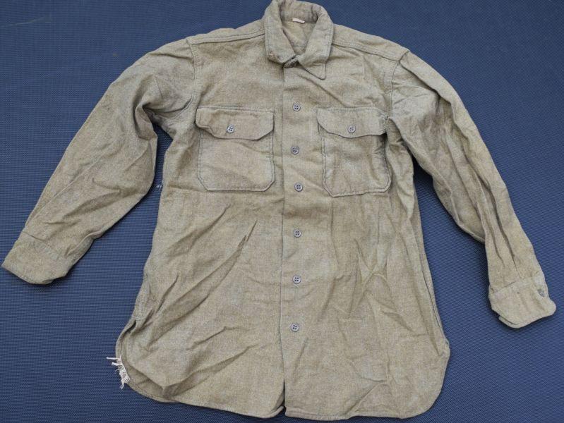 51) WW2 US Army Issue Rough Woollen Mustard Coloured Shirt