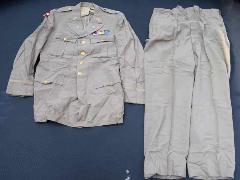 31) Original WW2 US Army Khaki Tropical Worsted Service Uniform to Lt Col