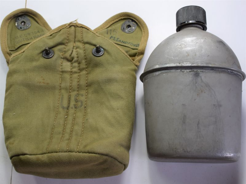 4) WW2 US Army Water Bottle & Damaged British Made Cover