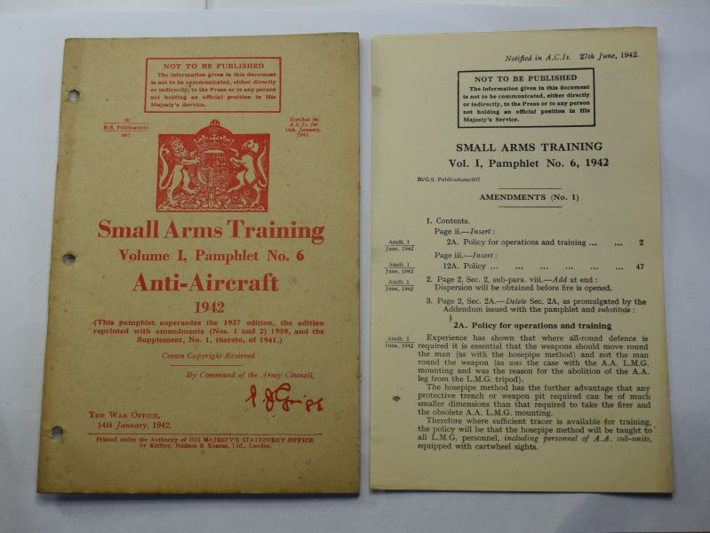 83) Original WW2 Small Arms Training Pamphlet Vol I Pamphlet 6, Anti-Aircraft 1942