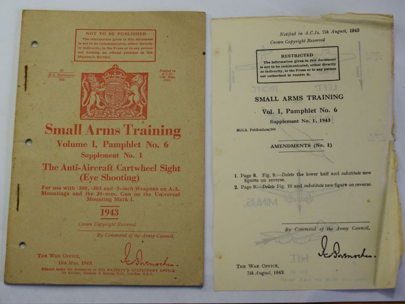 84) Original WW2 Small Arms Training Vol I Pamphlet 6, Supplement 1, AA Cartwheel Sight 1943