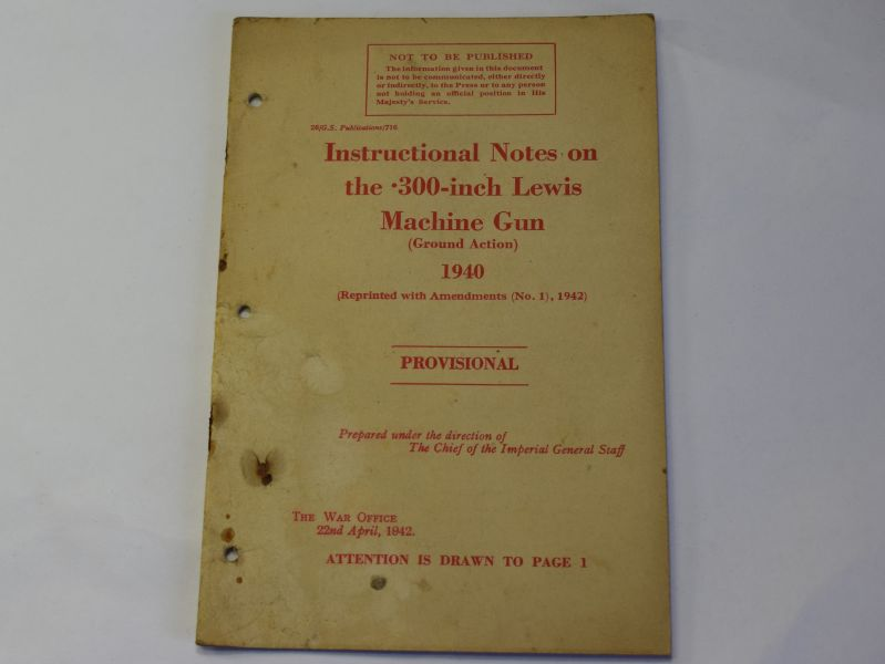 88) Original Instructional Notes on the .300-Inch Lewis MG 1940