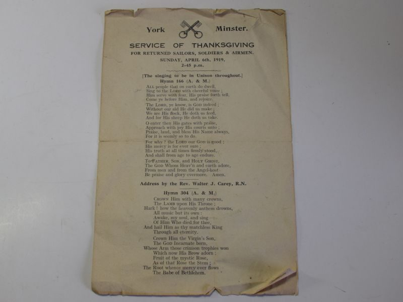 41) WW1 Service of Thanksgiving Leaflet York Minster April 6th 1919