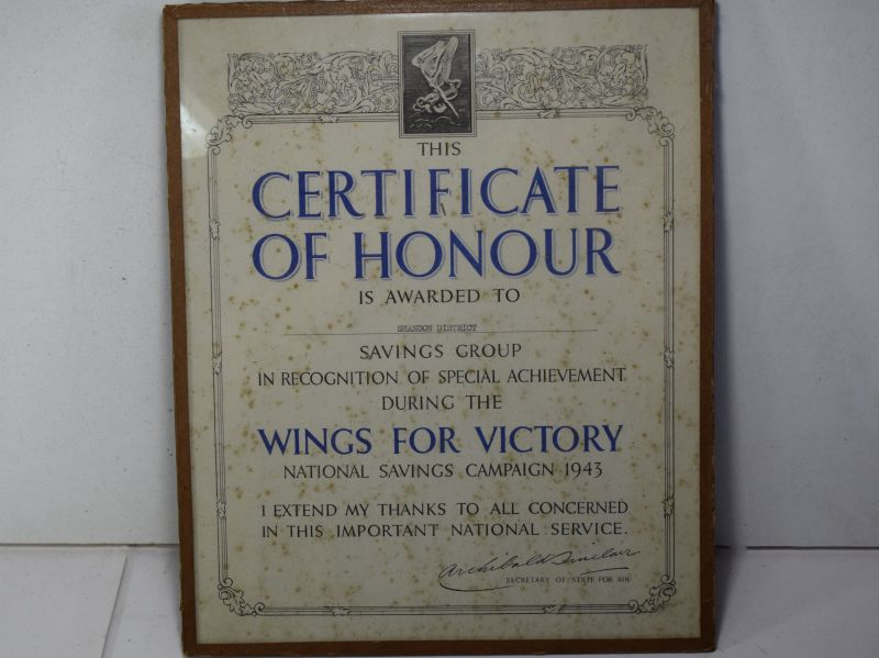 44) Nice Original Wings For Victory Certificate 1943, for Shandon District