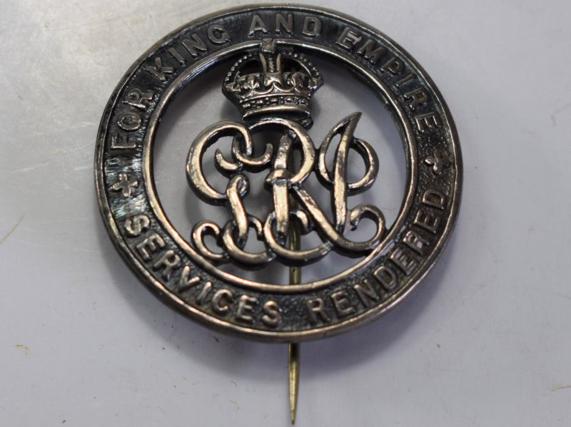 47) Original WW1 Silver Wound Badge For King & Empire Services Rendered